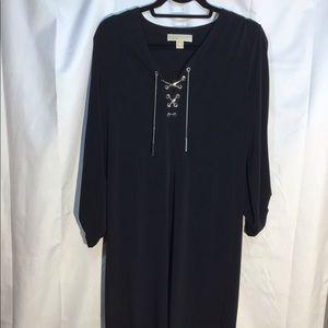 Michael Kors Black Long sleeve Blouse /Lace up